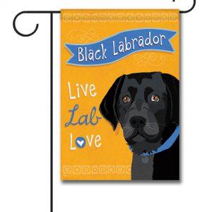 Black Labrador Live Lab Love- Garden Flag - 12.5'' x 18''