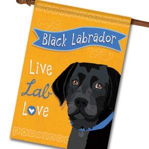 Black Labrador Live Lab Love- House Flag - 28'' x 40''