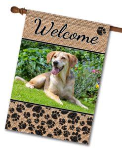 "Dog Paws & Burlap - Photo House Flag 28""x40"""