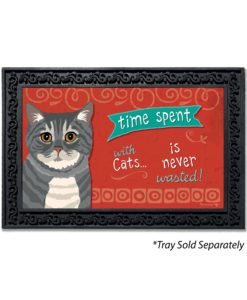 Time Spent with Cats Gray Tabby Cat Doormat