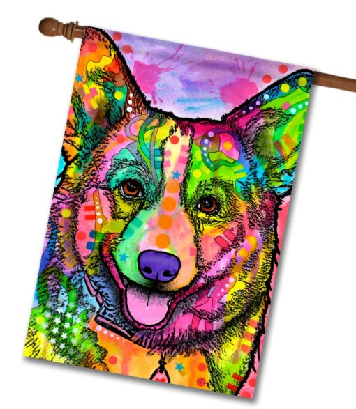 Abstract Corgi - House Flag - 28'' x 40''