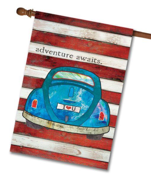 Adventure Awaits - House Flag - 28'' x 40''