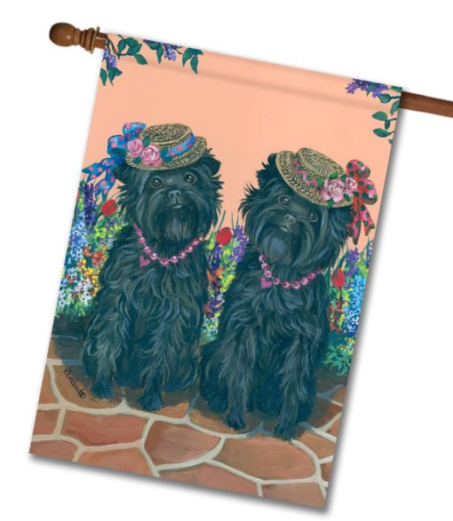 Affenpinscher Sisters - House Flag - 28'' x 40''