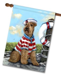 Airedale Terrier The Skipper- House Flag - 28'' x 40''