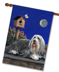 Bearded Collie Moonshine - House Flag - 28'' x 40''
