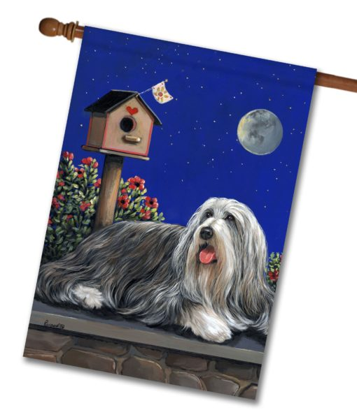 Bearded Collie Moonshine - House Flag - 28'' x 40''