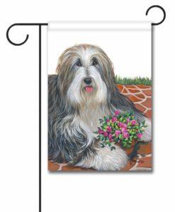 Bearded Collie Pot of Roses - Garden Flag - 12.5'' x 18''