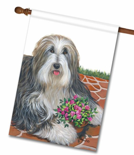 Bearded Collie Pot of Roses - House Flag - 28'' x 40''