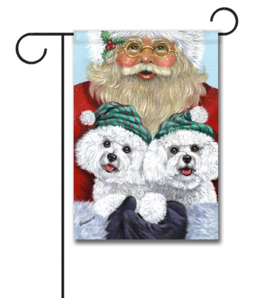 Bichon Frise Santa- Garden Flag - 12.5'' x 18''