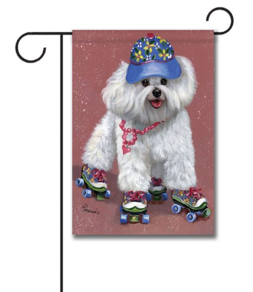 Bichon Frise Roller Skating - Garden Flag - 12.5'' x 18''