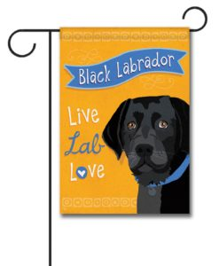 Black Labrador Live Lab Love- Garden Flag - 12.5'' x 18''