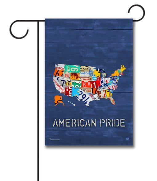 American Pride Blue Rustic Wood- Garden Flag - 12.5'' x 18''