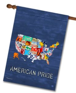 American Pride Blue Rustic Wood- House Flag - 28'' x 40''