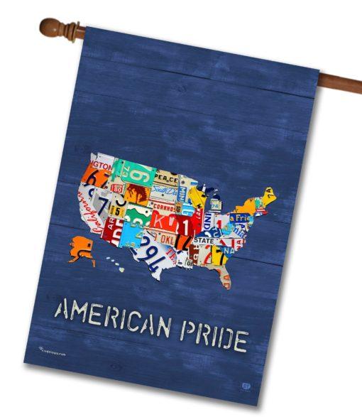American Pride Blue Rustic Wood- House Flag - 28'' x 40''