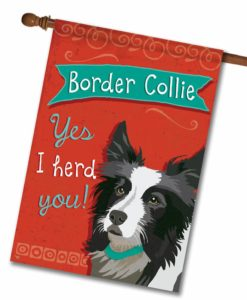 Border Collie- House Flag - 28'' x 40''