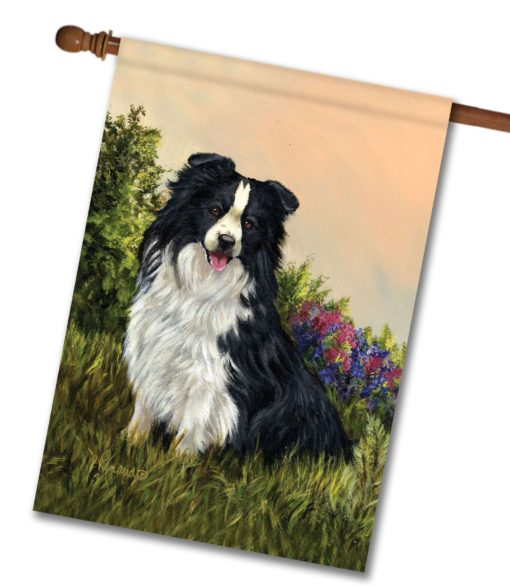 Border Collie Simplicity - House Flag - 28'' x 40''