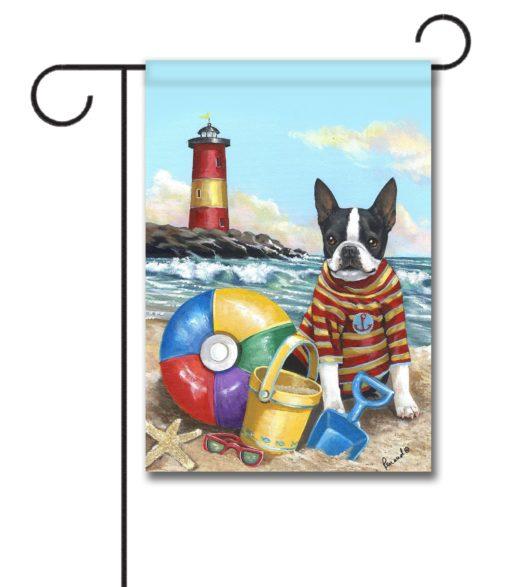 Boston Terrier Beach Baby- Garden Flag - 12.5'' x 18''