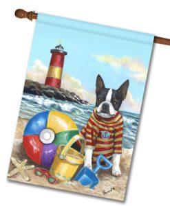 Boston Terrier Beach Baby- House Flag - 28'' x 40''