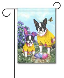 Boston Terrier Spring Bunny - Garden Flag - 12.5'' x 18''