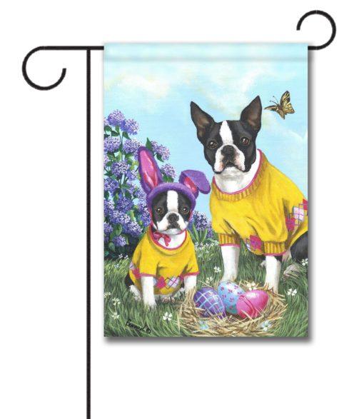 Boston Terrier Spring Bunny - Garden Flag - 12.5'' x 18''