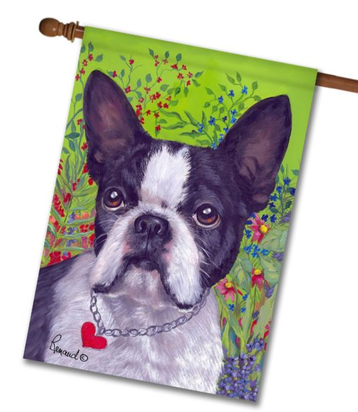 Boston Terrier Jungle - House Flag - 28'' x 40''