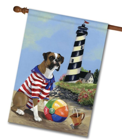 Boxer Beach Baby- House Flag - 28'' x 40''