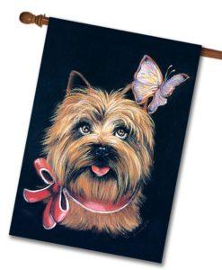 Cairn Terrier & Butterfly - House Flag - 28'' x 40''