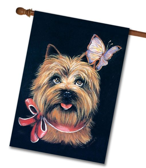 Cairn Terrier & Butterfly - House Flag - 28'' x 40''
