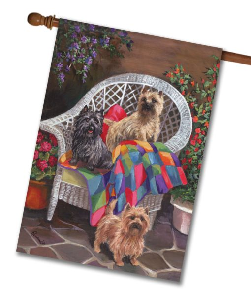 Cairn Terrier Trio - House Flag - 28'' x 40''
