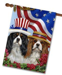 Cavalier King Charles American Pride- House Flag - 28'' x 40''