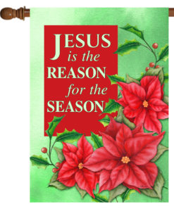 Christmas Flower Jesus is the Reason- House Flag - 28'' x 40''
