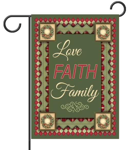 Christmas Love Faith & Family - Garden Flag - 12.5'' x 18''
