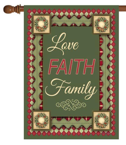 Christmas Love Faith & Family - House Flag - 28'' x 40''