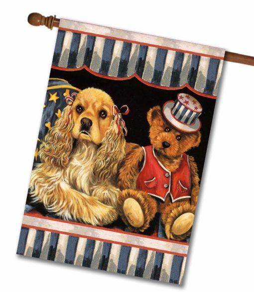 Cocker Spaniel Annie and Henrie- House Flag - 28'' x 40''