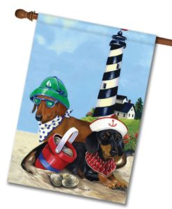 Dachshund Clam Digger- House Flag - 28'' x 40''
