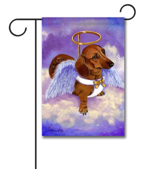 Dachshund Doxie Rescue Angel- Garden Flag - 12.5'' x 18''