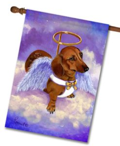 Dachshund Doxie Rescue Angel- House Flag - 28'' x 40''