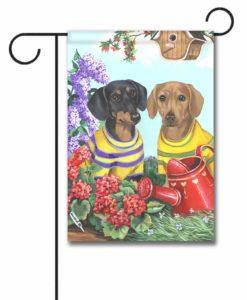 Dachshund Floral Sunshine - Garden Flag - 12.5'' x 18''