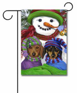 Dachshund Snowman- Garden Flag - 12.5'' x 18''