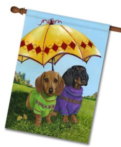 Dachshund Hot Doggies - House Flag - 28'' x 40''