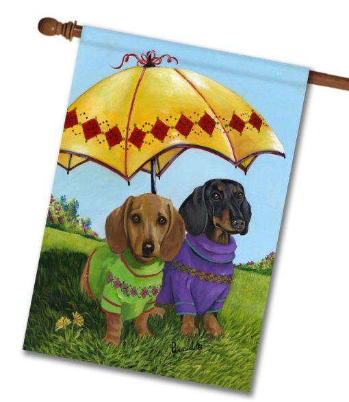 Dachshund Hot Doggies - House Flag - 28'' x 40''