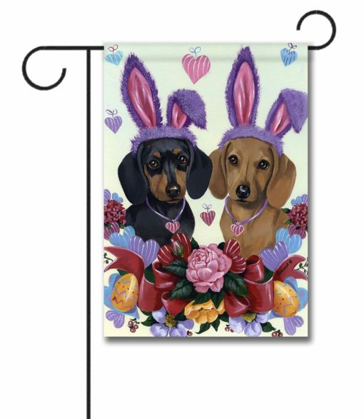 Dachshund Bunnies- Garden Flag - 12.5'' x 18''