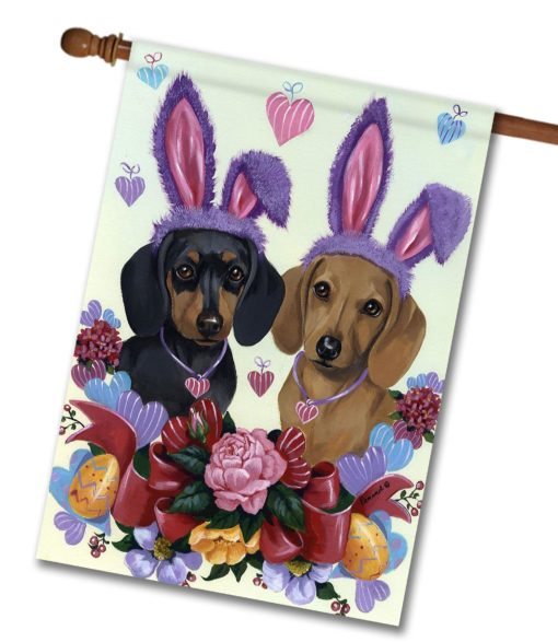 Dachshund Bunnies - House Flag - 28'' x 40''