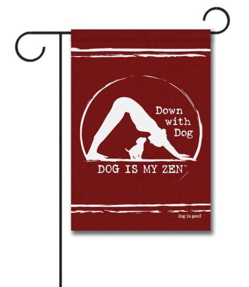 Down With Dog Zen - Garden Flag - 12.5'' x 18''