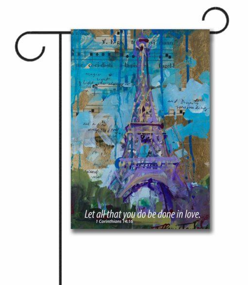 Eiffel Tower 1 Corinthians - Garden Flag - 12.5'' x 18''