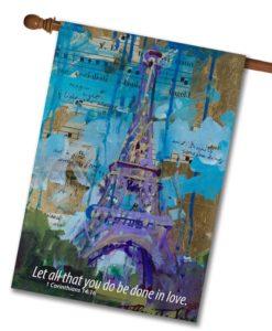 Eiffel Tower 1 Corinthians- House Flag - 28'' x 40''