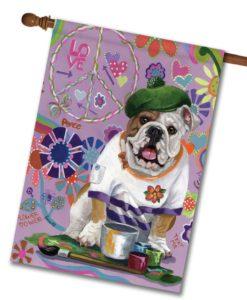 English Bulldog Grafitti - House Flag - 28'' x 40''