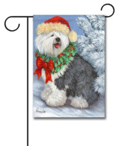 English Sheepdog Christmas- Garden Flag - 12.5'' x 18''