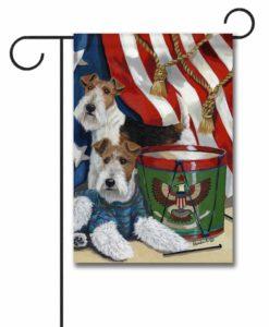 Fox Wire Terrier Stars & Stripes- Garden Flag - 12.5'' x 18''