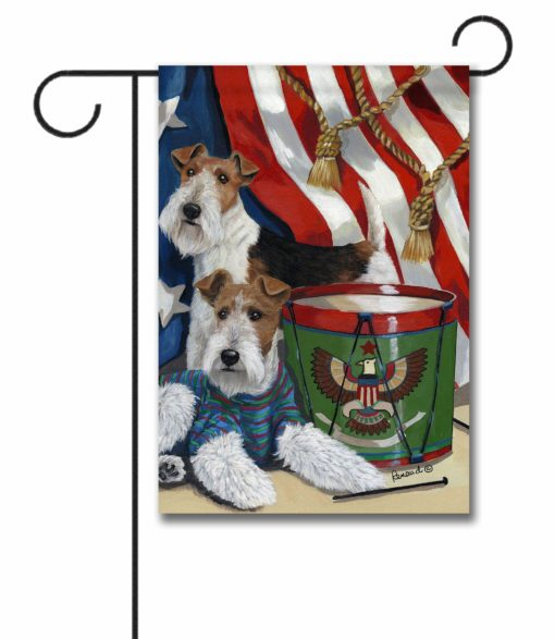Fox Wire Terrier Stars & Stripes- Garden Flag - 12.5'' x 18''